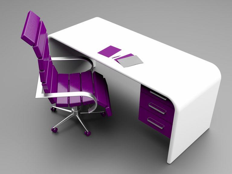 Escritorio blanco con silla y cajonera purpura