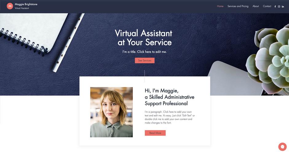 template de site assistant virtuel