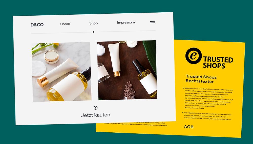 Titelbild mit Ansicht eníner Website und dem Logo von Trusted Shops mit Aufschrift: Trusted Shops Rechtstexter