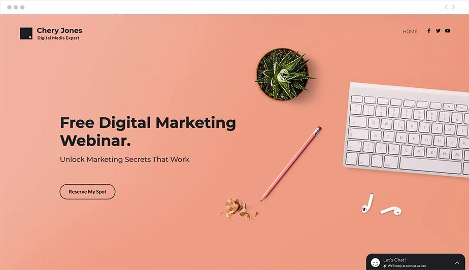 Plantilla web de Wix para crear un webinar