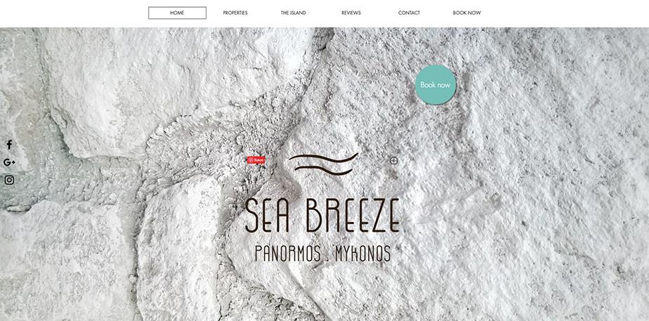 Página web de hoteles con un fondo de briza marina; el nombre es el concepto, y de él nace el estilo y el tono de la página entera. El sitio web de este hotel es limpio y aireado