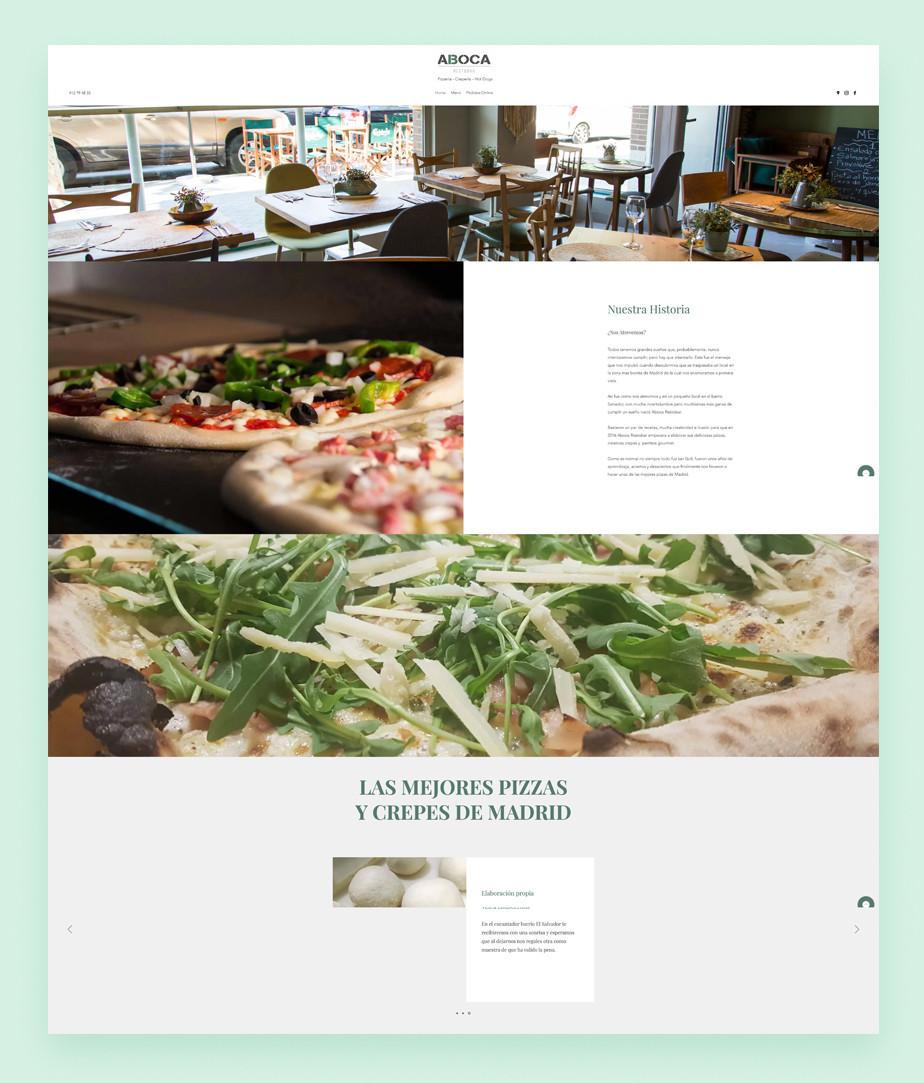 Pagina web de restaurante de pizza