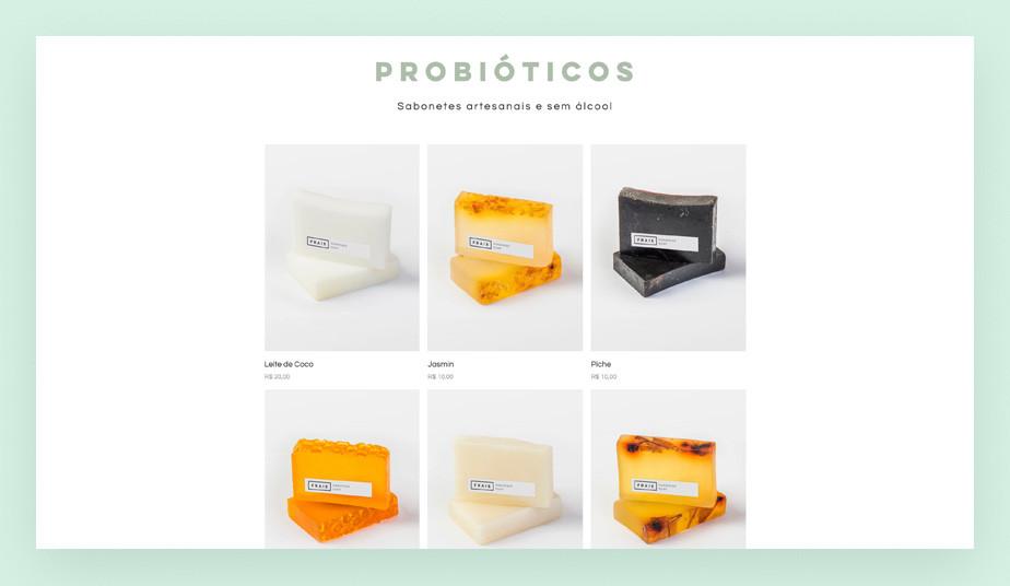 Página da loja do template para eCommerce de velas e sabonetes artesanais