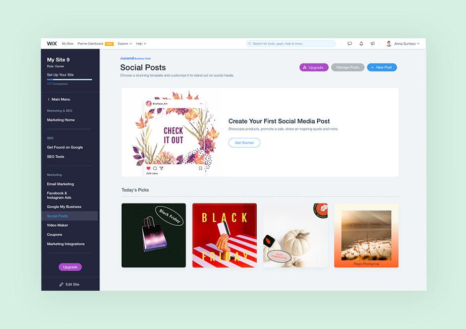 Social posts dashboard van Wix
