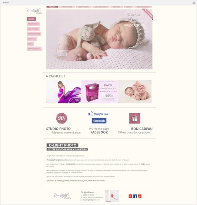 site photographie d-light créé avec Wix