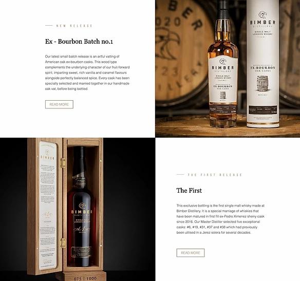 Descrizioni della storia dei prodotti sul sito di Bimber Distillery