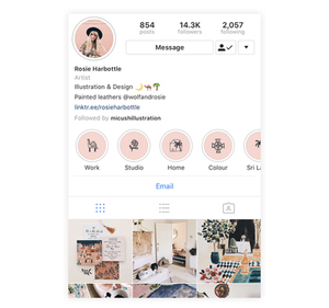 An example of how to craft your Instagram Story Highlights and profile to match your brand and style