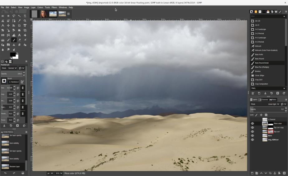 Panel de edición de GIMP
