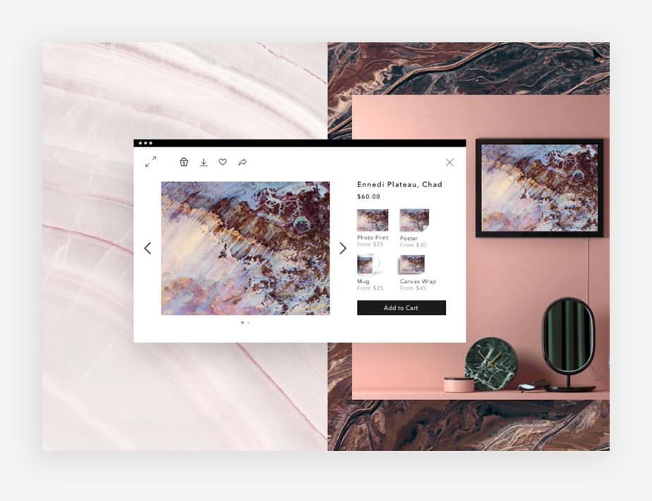 Verkoop gepersonaliseerde producten met jouw foto's erop, met Wix Art Store