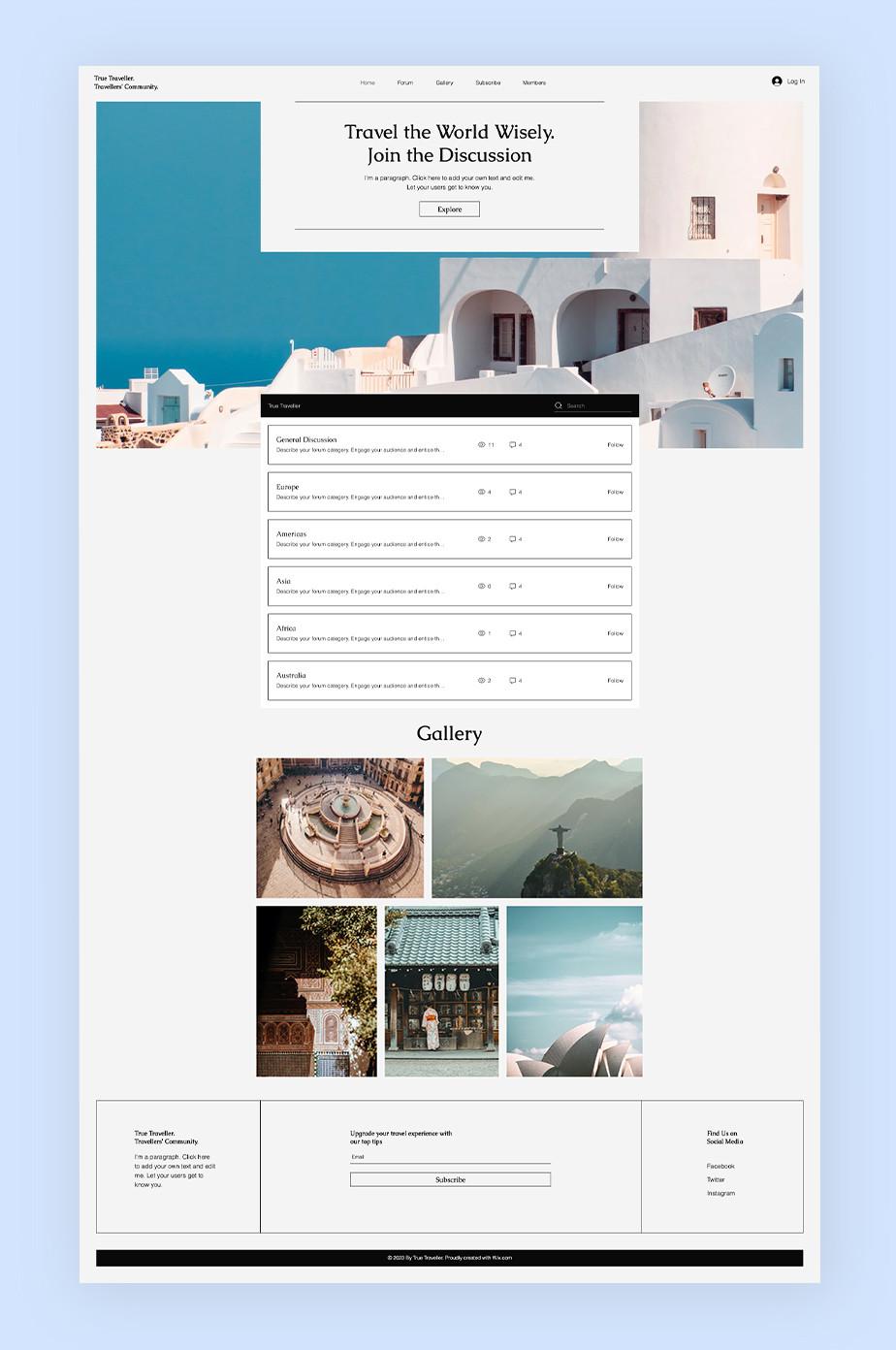 그리스 산토리니의 풍경을 담고 있는 여행 게시판 웹사이트 이미지