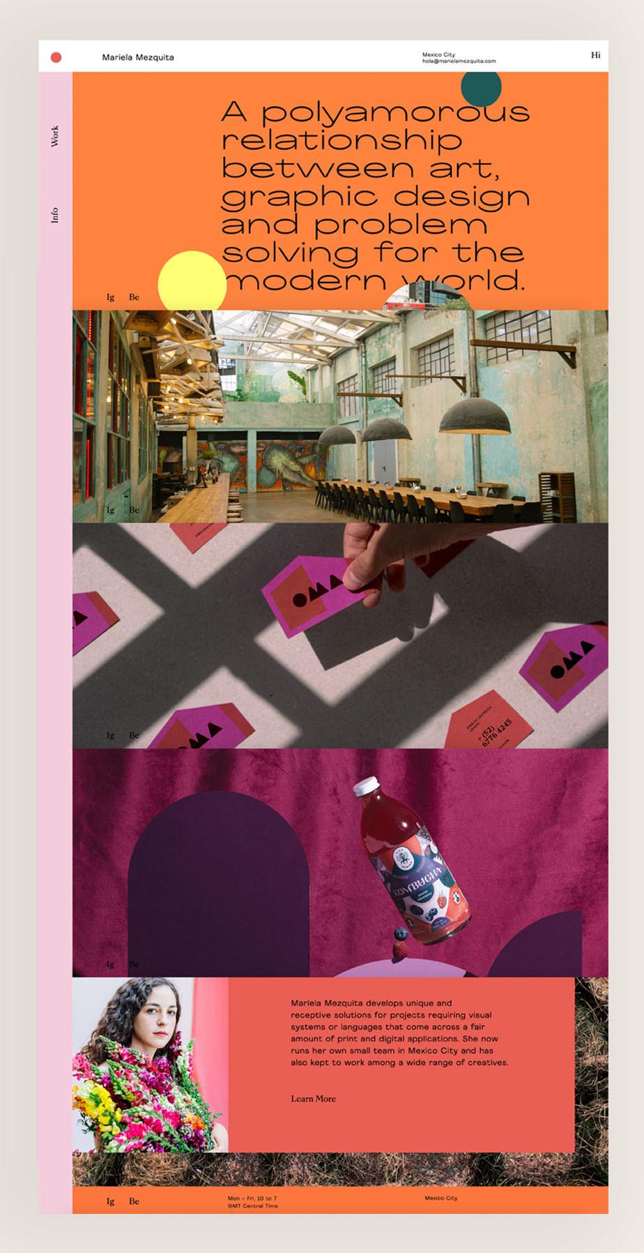 Mariela Mezquita grafisch ontwerp website voorbeeld