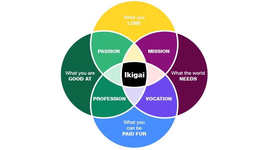 IKIGAI의 나의 목적 찾기 다이아그램