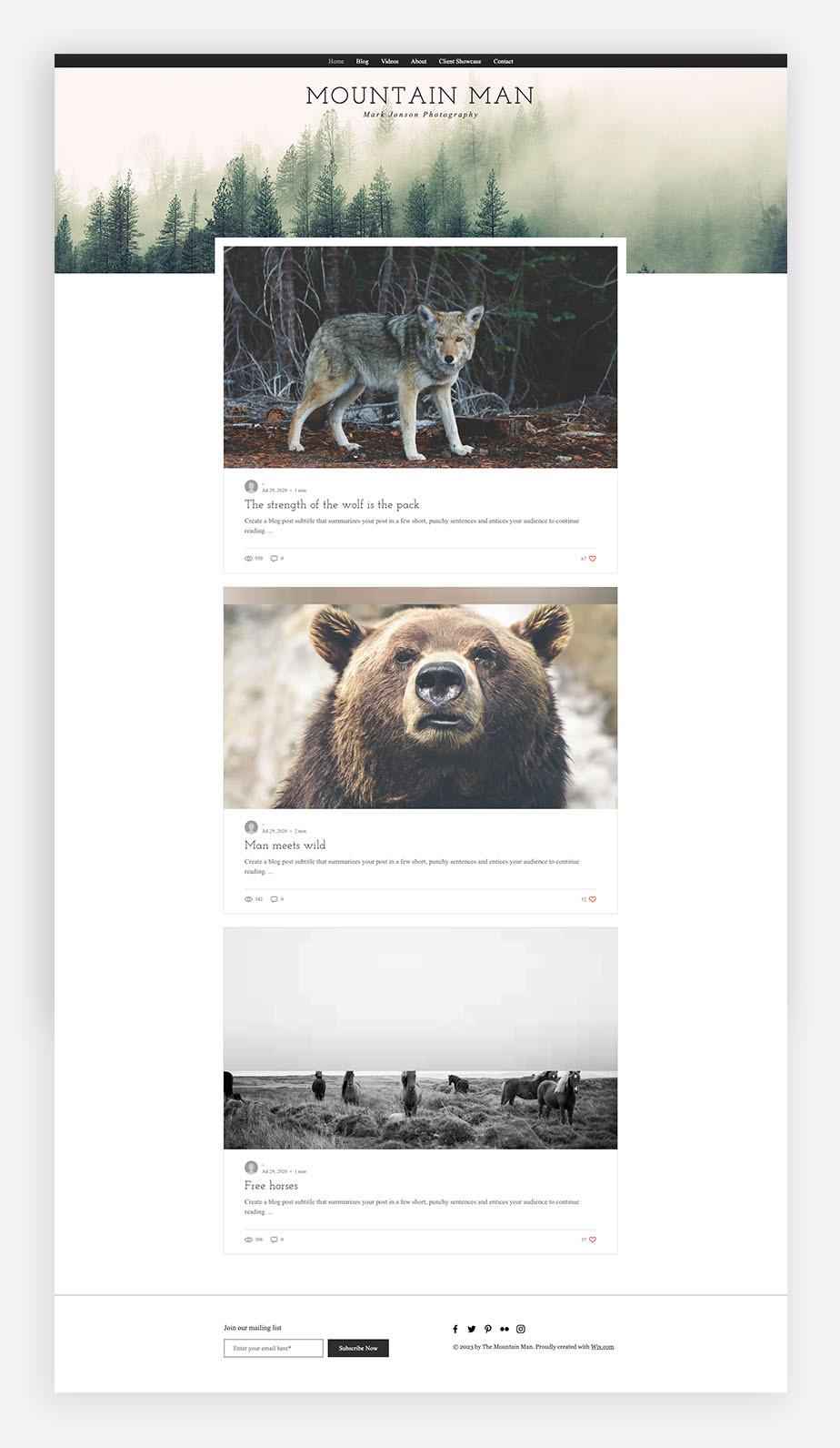 Een fotografie blog maken, voorbeeld