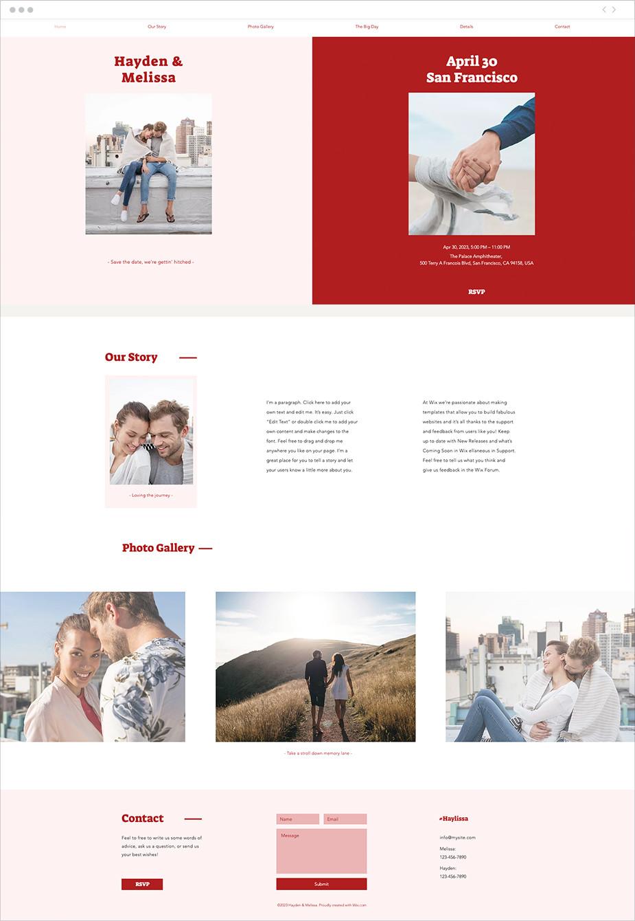 Template sito web per matrimoni