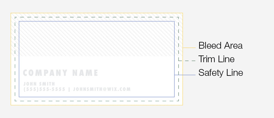 How to design a business card: bleed area, trim line and safety line
