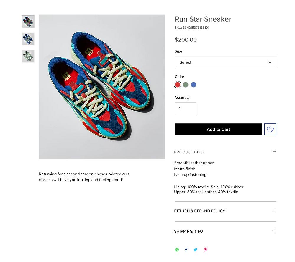 Checkout per l'acquisto di scarpe da ginnastica