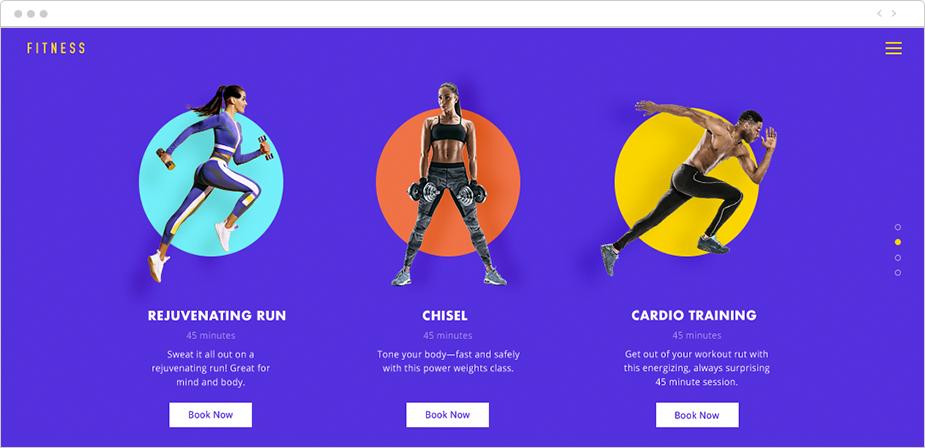 wix bookings özellikleri, spor salonu dersleri