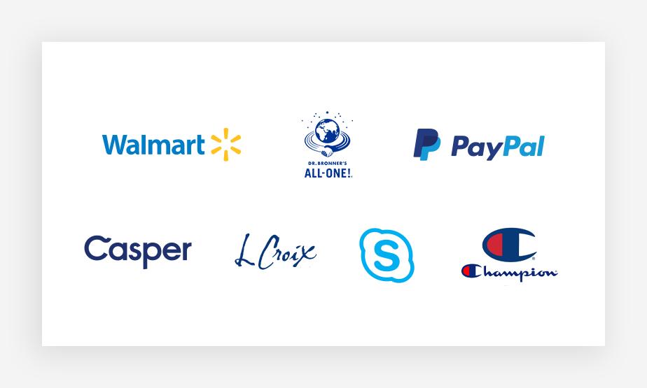 Verschiedene blaue Logos