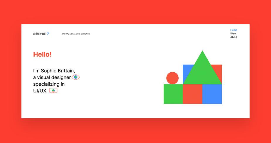 디지털 및 브랜딩 디자이너 소피 브리테인의 포트폴리오 웹사이트