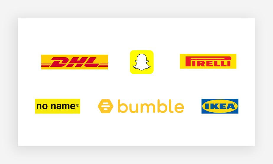 Verschiedene gelbe Logos