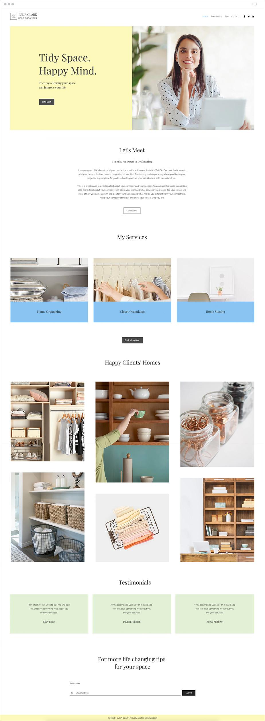 Plantilla web para organizadores de hogar
