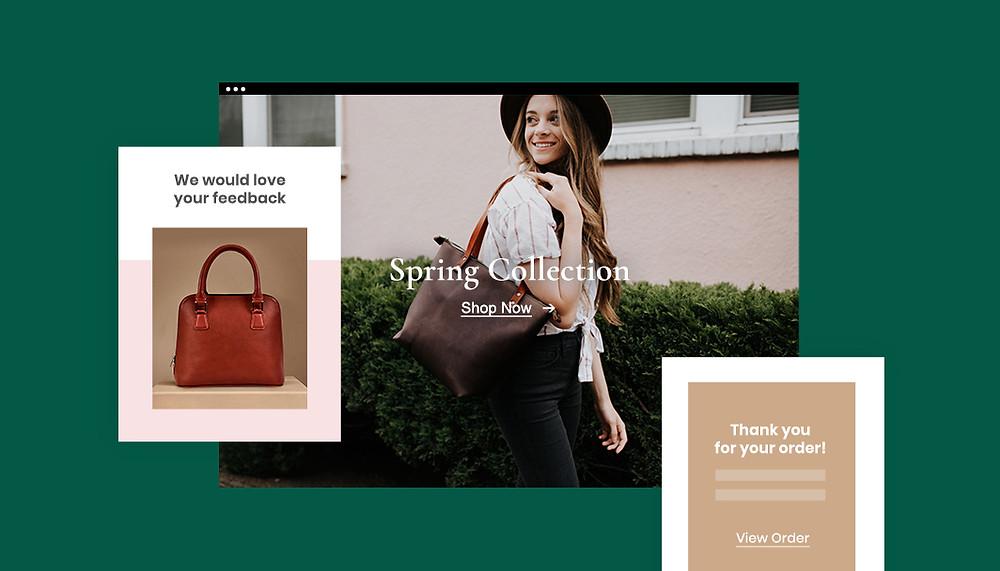 Screenshoots einer Online-Shop-Storefront mit verschiedenen E-Mails einer Drip-Kampagne