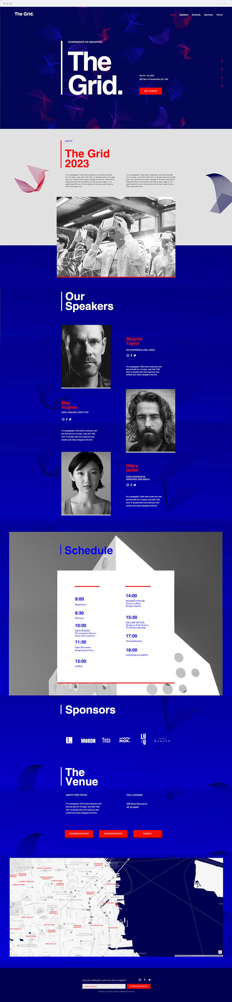 Template Wix Conferência de Design