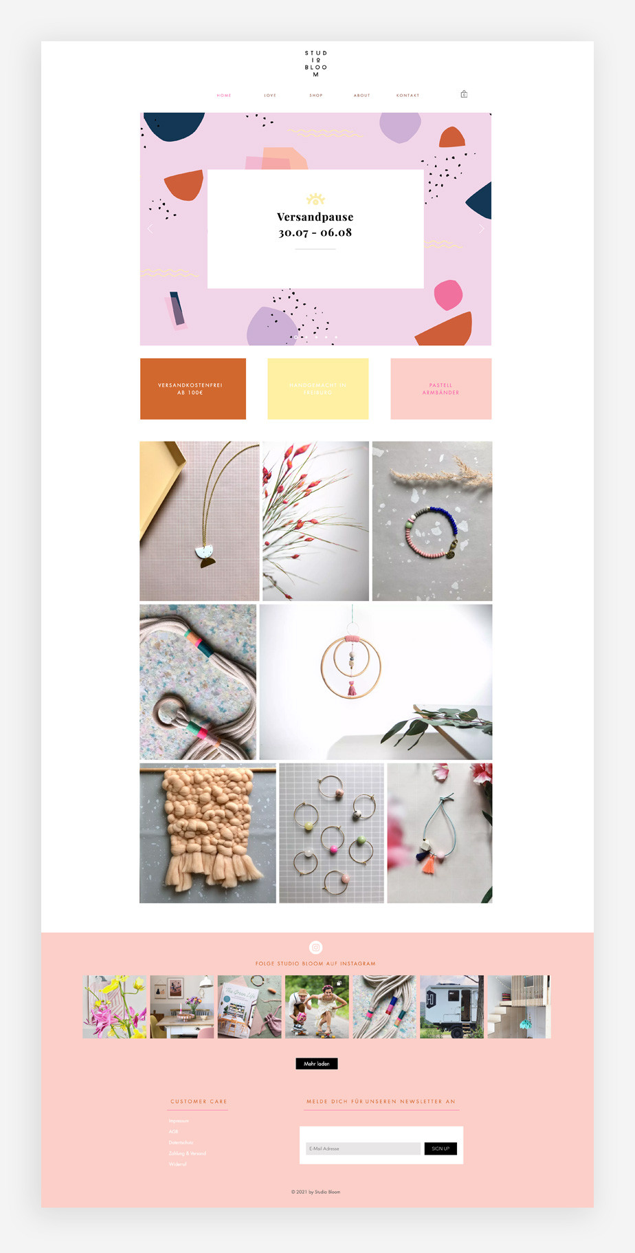 Screenshoot der Website von Studio Bloom