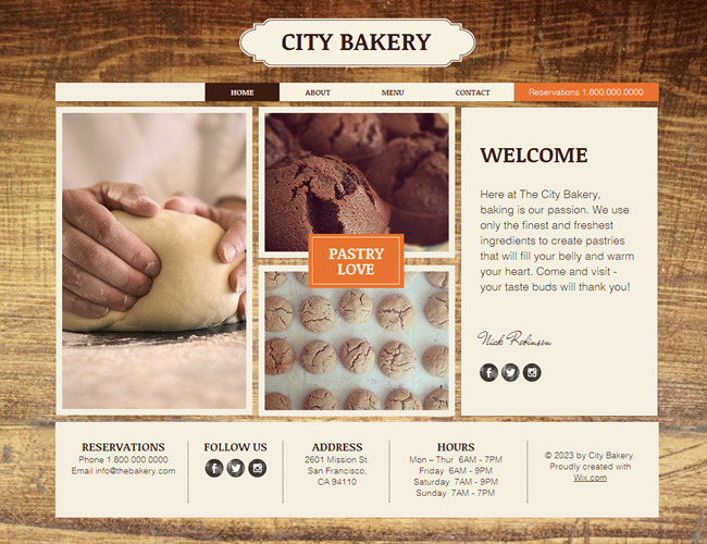 Шаблон Wix City Bakery