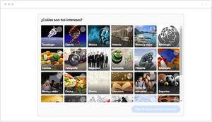 Menú de selección de temas de interés en Quora