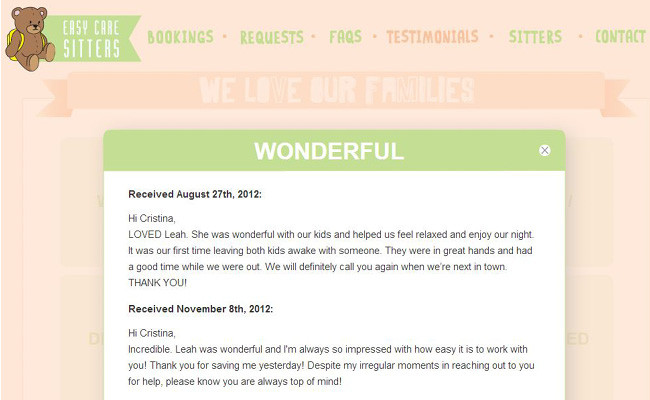 Pantallazo de un Sitio Web sobre Baby Sitters