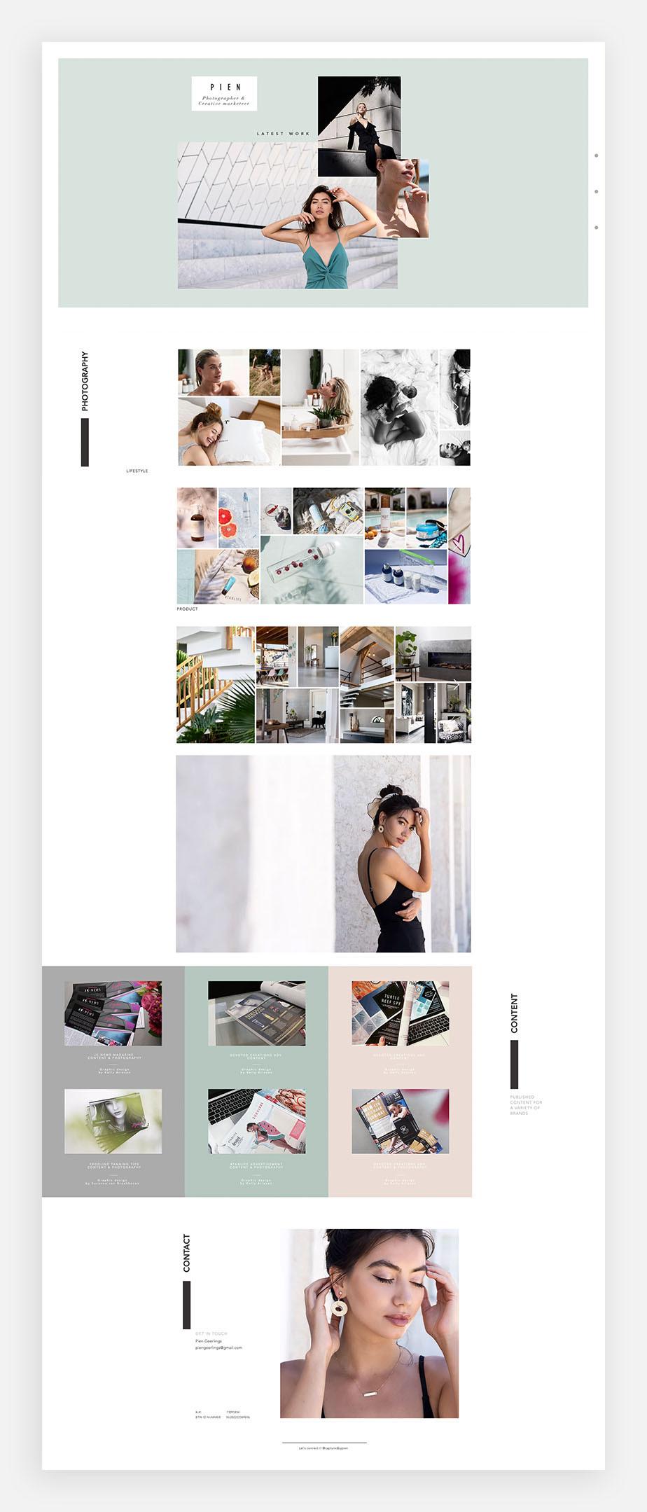 윅스 사용자 피엔 기어링의 원페이지 웹사이트 이미지