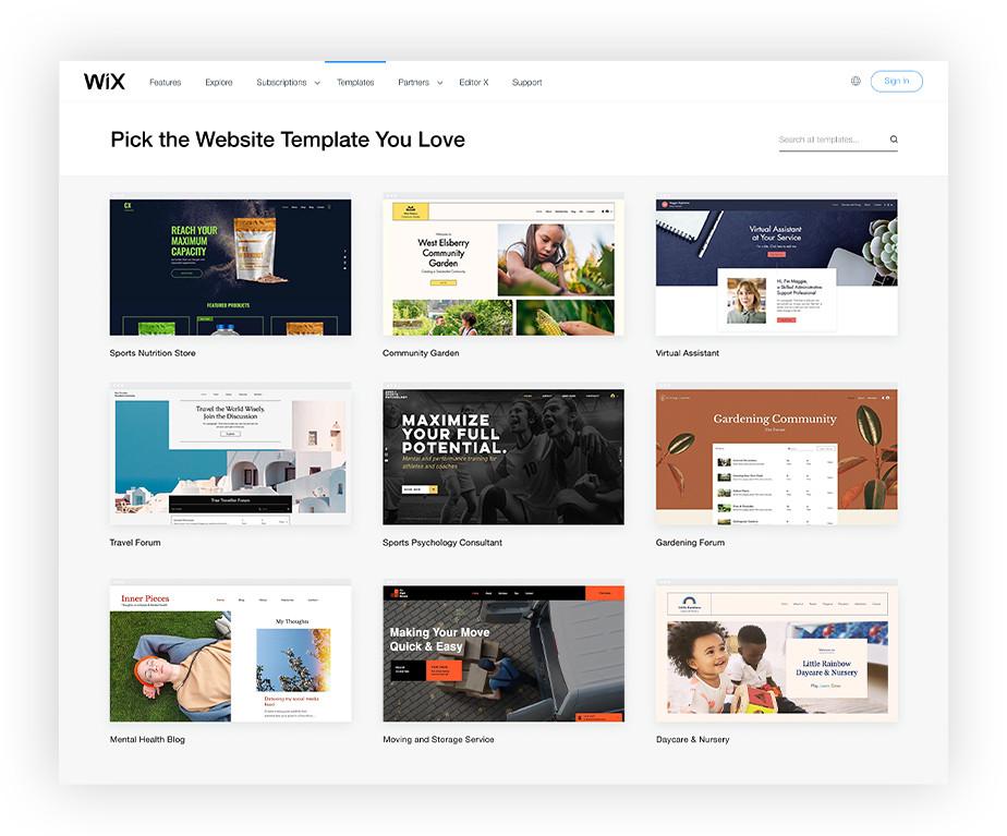 Ansicht verschiedener Websitevorlagen von Wix