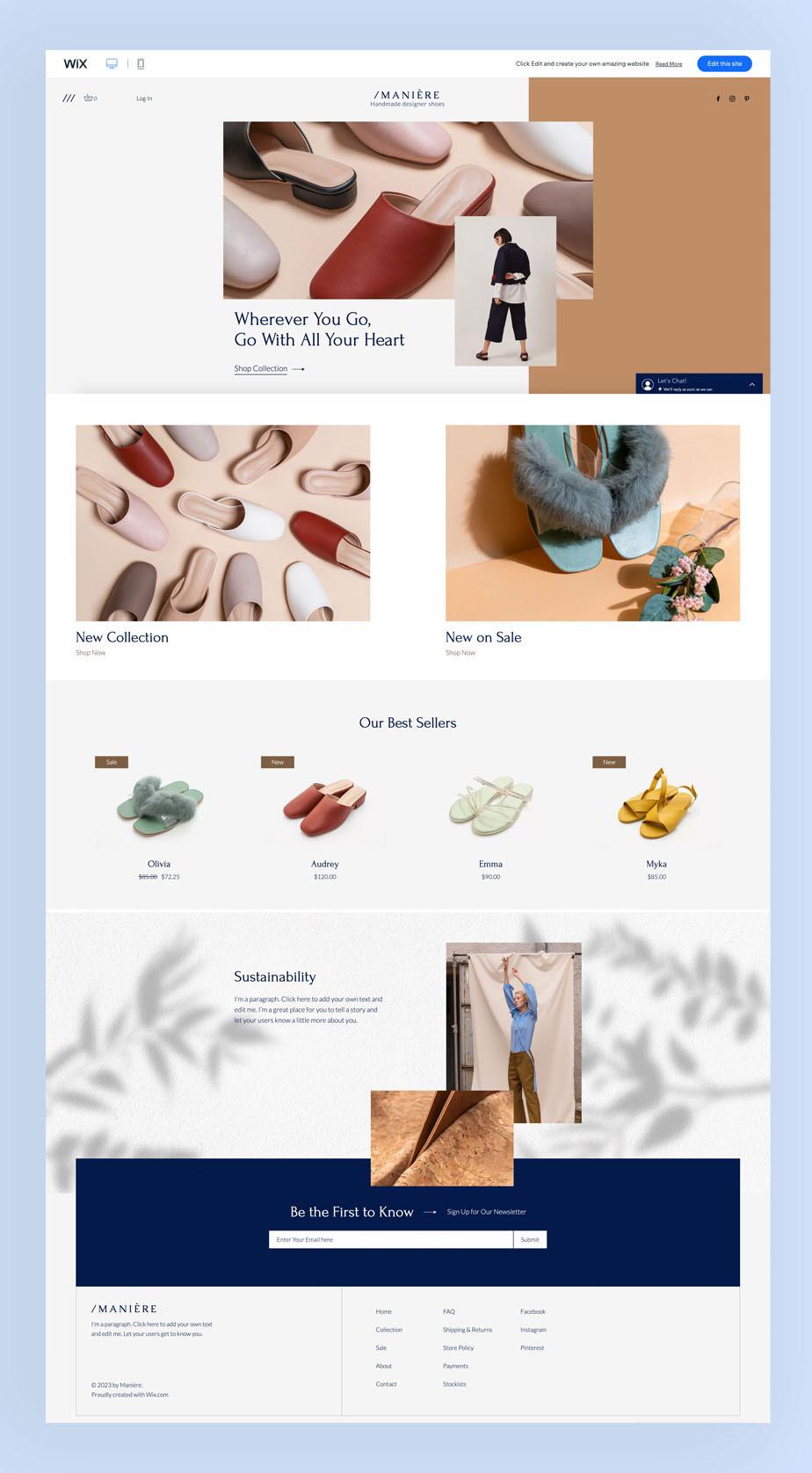 Schoenenwinkel eCommerce Wix website template