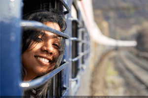 young woman in a train
