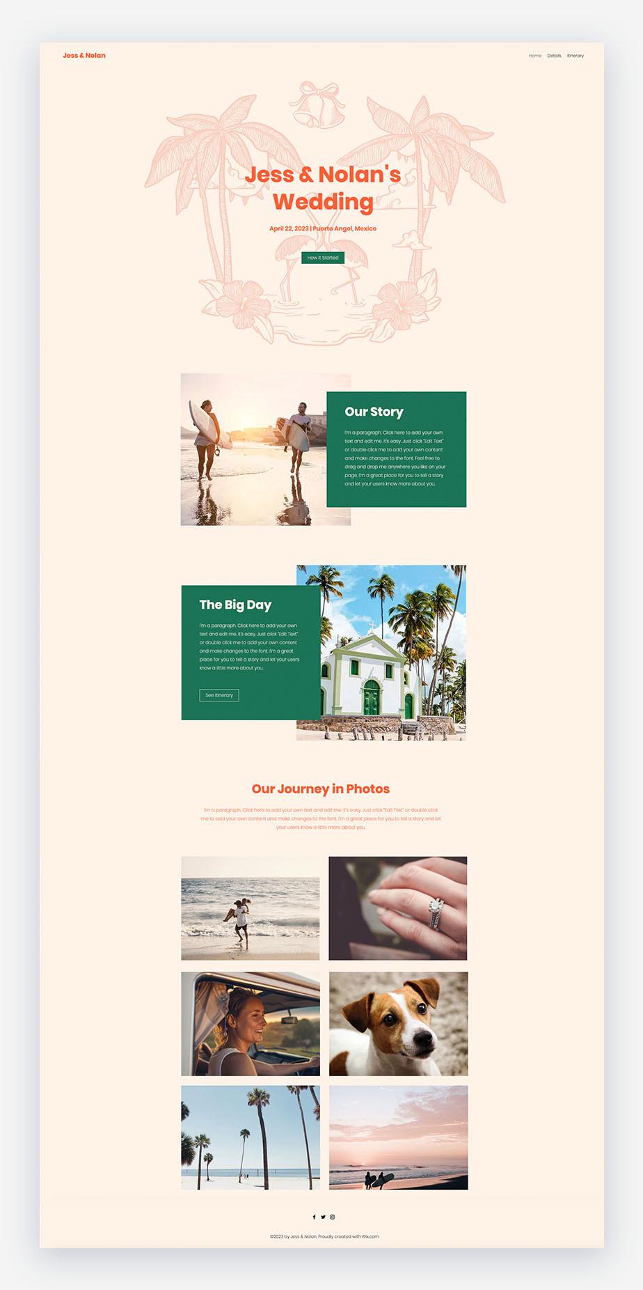 sito web di matrimonio wix in colore pesca chiaro