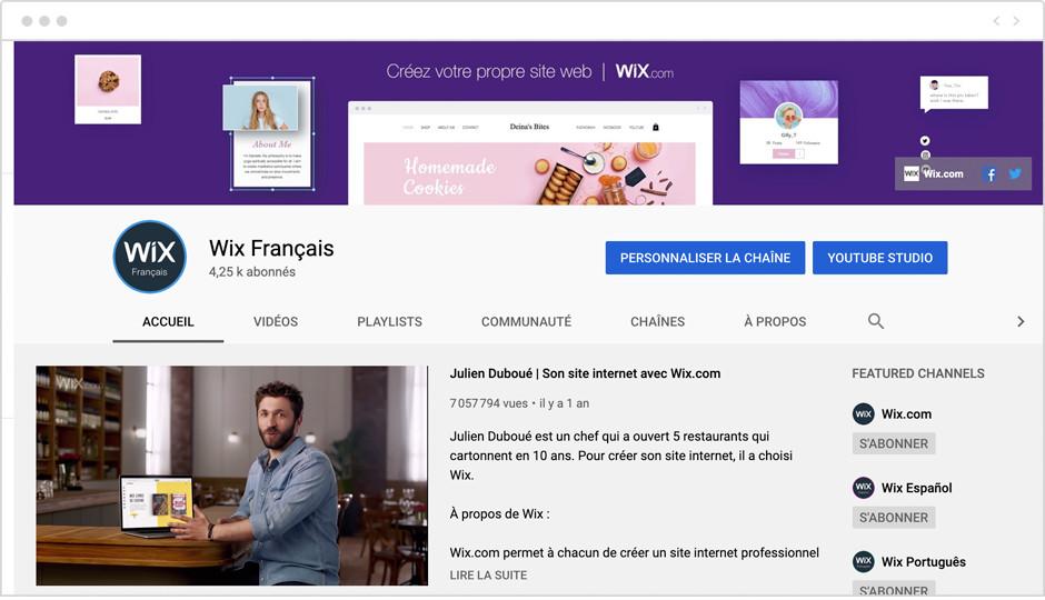 Créer une chaîne YouTube pour votre entreprise - compte Wix