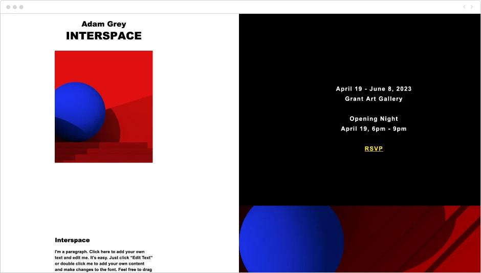 Template de site pour exposition d'art