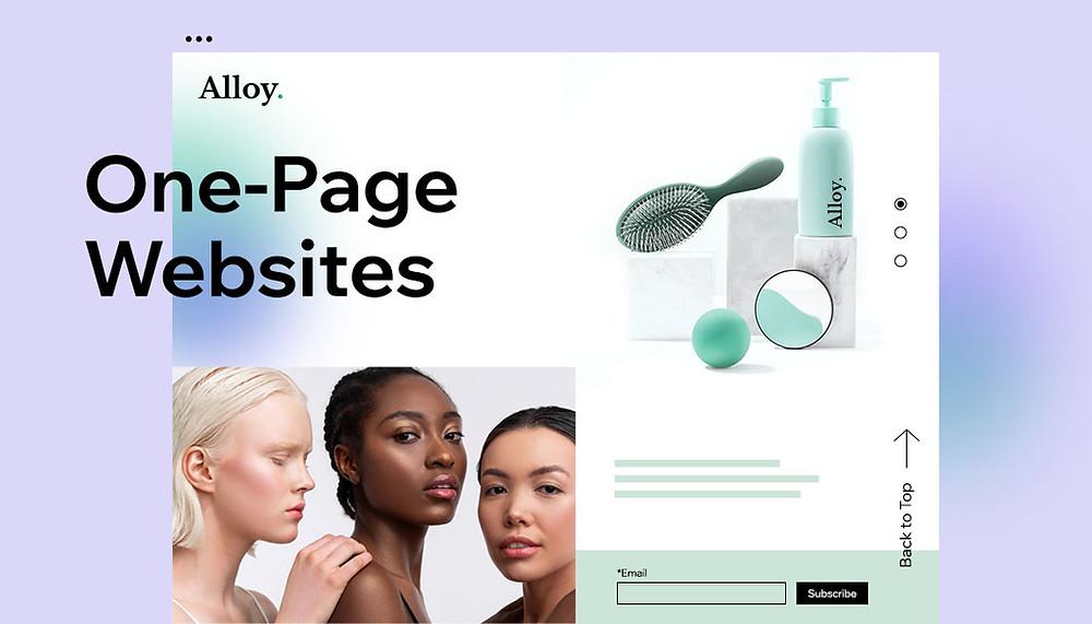 원페이지 웹사이트의 예시 이미지 아름다운 여성들과 화장 도구가 함께 나열되어 있음
