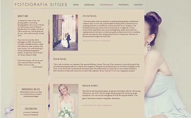 Pantallazo de Sitio Web de Fotografía