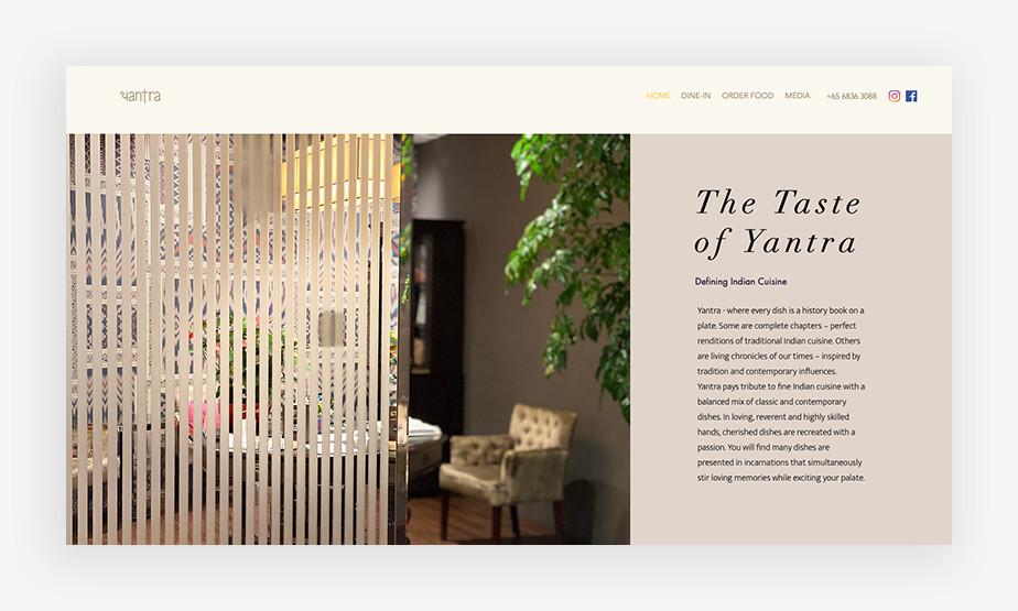 우아하고 미니멀한 디자인으로 고객을 사로잡는 옌트라 레스토랑의 웹사이트