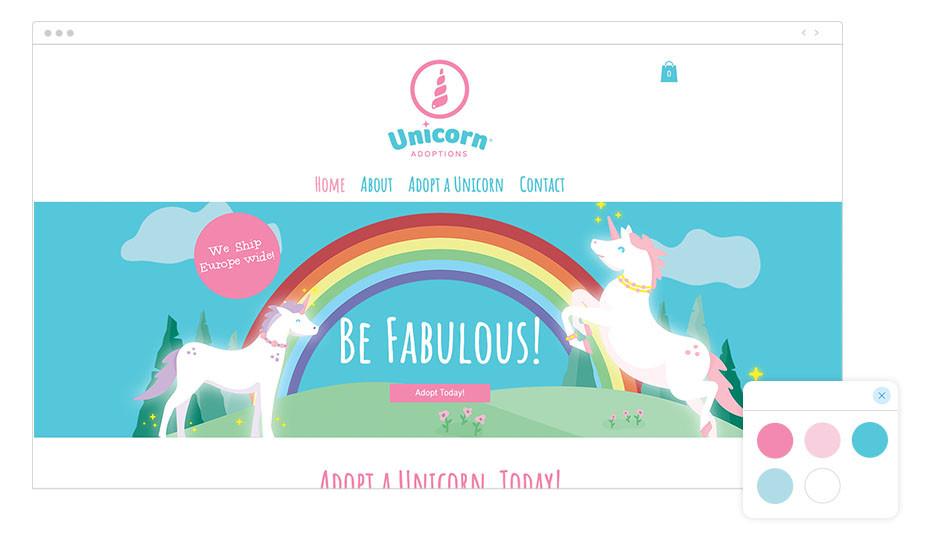 Web Wix de agencia de adopción de unicornios