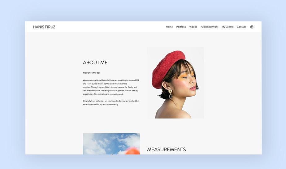 윅스로 만든 하니스 피루츠의 모델링 웹사이트