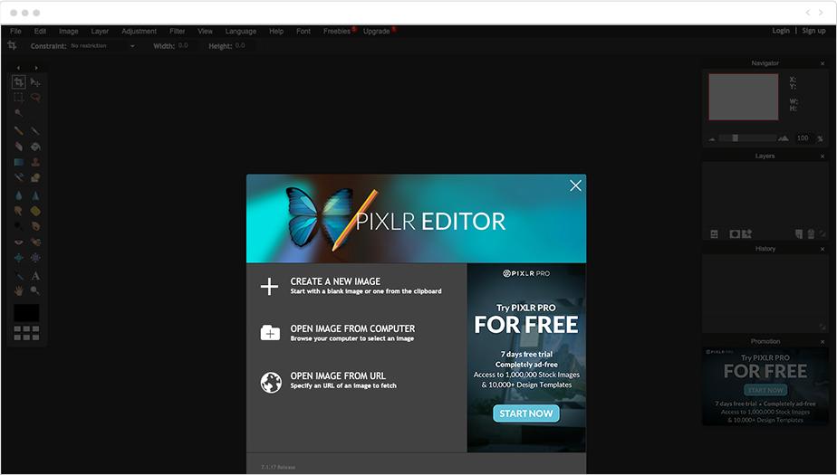 Pixlr Editor fotoğraf düzenleme programı