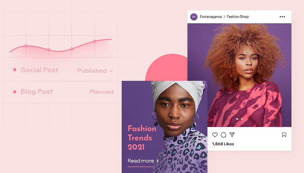 """Imagem de capa do artigo """"Como Criar Uma Estratégia de Conteúdo Para o Seu Negócio Online"""". Fundo rosa com dois exemplos de post nas redes sociais."""