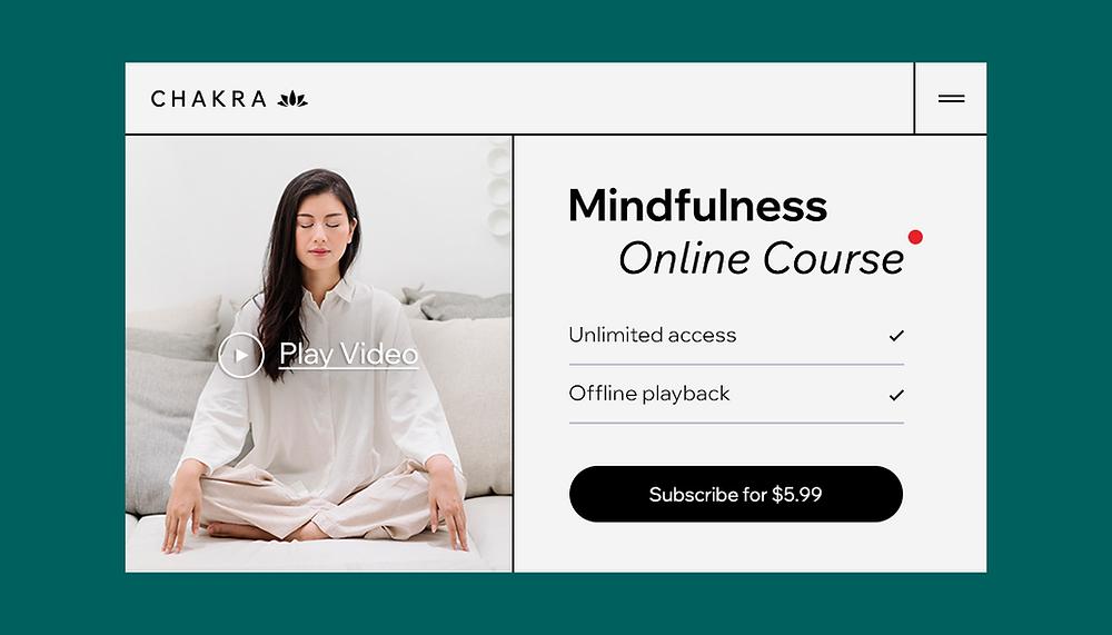Esempio di layout per abbonarsi a un corso online di mindfulness