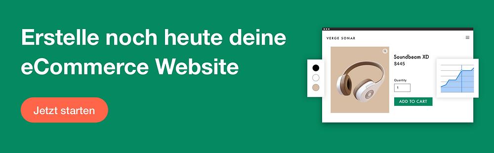 Werbebanner der Firma Wix mit Schriftzug: Erstelle noch heute deine eigene eCommerce Website. Jetzt starten