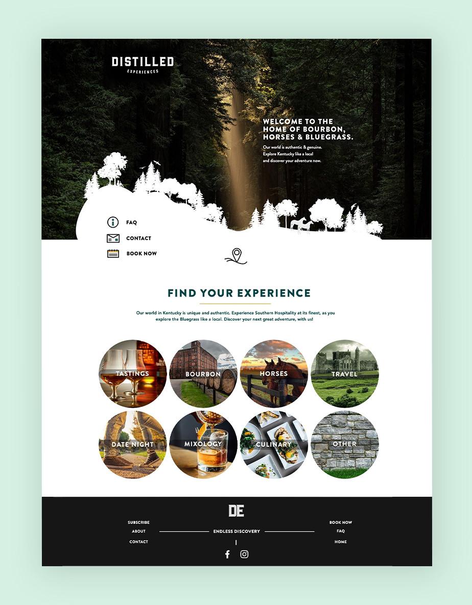 Distilled Experiences Website als Beispiel für eine Buchungswebsite