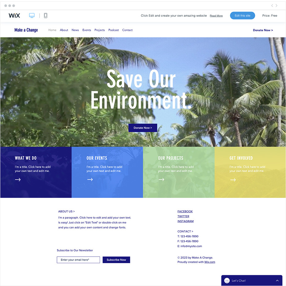 Environmental NGO free nonprofit website template by Wix