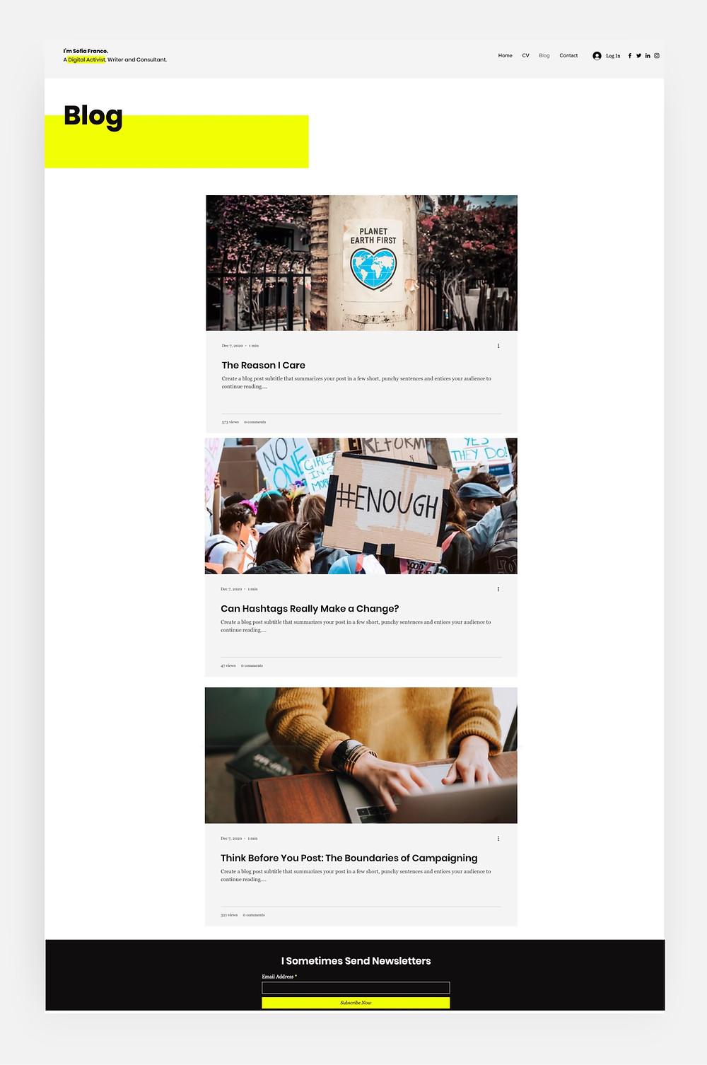 Plantilla para blogs de diseñadores profesionales